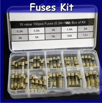 10 value100PCS 250V Fast Blow Glass Fuse 5mm x 20mm Assortment Kit 0