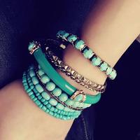 Bohemia ocean wind multi-circle gem beads multi-layer bracelet vintage bracelet quality acrylic