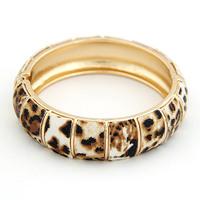 Fashion noble elegant circle leopard print bracelet exquisite blingbling glitter scrub bangles