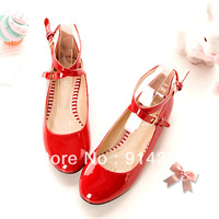 College wind lovely princess cross strap paint flat shoes big code for free shipping