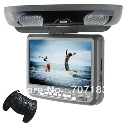 9inch car roof mount DVD player +32Bit wireless game+FM transmitter +16:9 wide screen(China (Mainland))