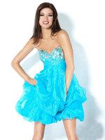 Real 2013 Fashion Sweetheart Sparkling Crystals Ruffles Short Blue Girls Homecoming Party Dress