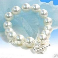 14mm White south sea shell pearl round beads bracelets 8inch AAA Fashion jewelry