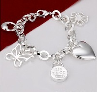 Foreign trade in Europe and America selling jewelry 925 silver butterfly photo frame, hanging bracelet H111