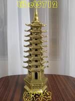 23 cm tall Tibetan Buddhist Temple worship bronze pagoda Wenchang Tower