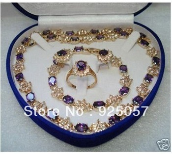 Mother's Day gift true Amethyst gold filled Earring Bracelet Necklace RingFashion jewelry