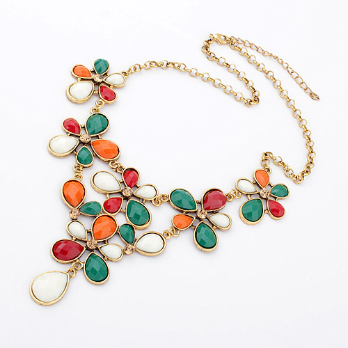 Accessories fashion pretty vintage royal fashion flower necklace(China (Mainland))