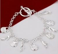 Korean version of fashion jewelry silver 925 Korean fashion creative hanging shoe bag bracelet H108