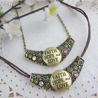 vintage Antiqued Bronze Faith Hope Love Pendants Necklace Free Shipping 12pcs/lot