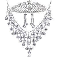 Colour bride rhinestone chain jewelry sets married necklace wedding accessories three pieces set