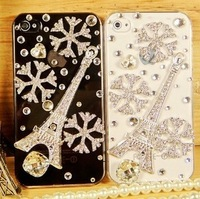Finished product eiffel tower for iphone 4 4s iphone5 rhinestone phone case for apple 4 rhinestone phone case protective case
