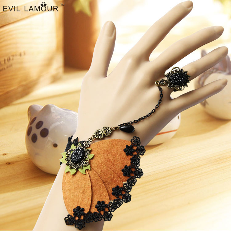 Aesthetic butterfly fashion vintage wrist length accessories bracelet with ring one piece chain female jewelry(China (Mainland))