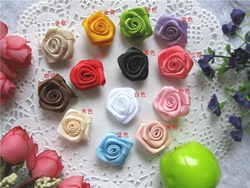 Mix 2CM DIY handmade ribbon frayed flower, lace satin rose flower, wedding box decorative mini shabby flowers(China (Mainland))