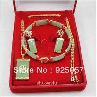real lucky jade pendant bracelet earrings sets Fashion jewelry