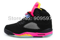 Free shipping by ems women j5 retro basketball shoes 2013 GS Bright Citrus Fusion Pink
