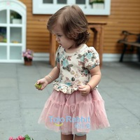 Free Shipping 3sets/Lot New Arrival Flower Baby Girl Dresses Pink Baby Short Sleeve Gauze Ball Gown Dress Wholesale Bulk Price
