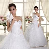 2014 new arrival wedding dress formal dress one shoulder flower slim sweet princess oblique spaghetti strap wedding dress