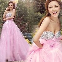 Luxury diamond the royal bride wedding formal dress pink evening dress married 2014 685