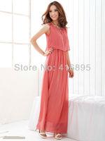 2014 Fashion New Arrival Boho Pretty Cutie Summer Long Chiffon Dress Beach Dresses for women Watermelon free shipping CJB105