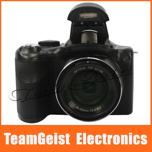 "3.0"" inch color TFT Digital camera DSLR / Digital video camcorder 16.1 MP CCD 15X optical zoom HDMI 16GB card Gift Free Shipping(China (Mainland))"