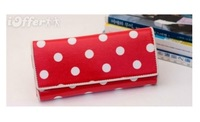 Brand 2012 PU leather Canvas the PVC film card holder lady's/women's wallet purse/popular clips18*9*3cm free shipping