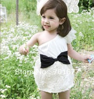 bowknot off the shoulder fashion flower girl  children dress 3#3020