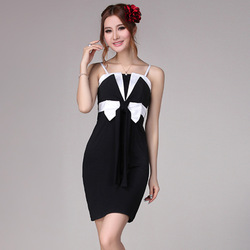 2013 summer bow slim suspender skirt tube top dress sexy black slim hip one-piece dress(China (Mainland))