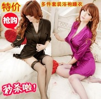 Sexy temptation to open front full dress rope clothing multiple bathrobe set sleepwear kimono women's sexy underwear