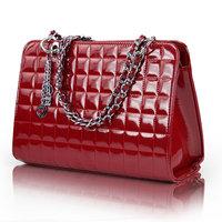 Women's handbag women's bags 2012 chain female bag fashion japanned leather shiny plaid shoulder bag