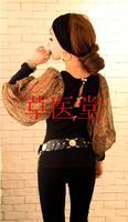 2013 spring women's back sexy serpentine pattern lantern sleeve all-match fashionable casual chiffon patchwork t-shirt