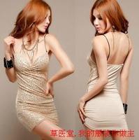 Sauna slim sexy slim hip fashion paillette women's one-piece dress