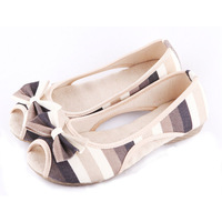 Cotton-made beijing shoes women's bow stripe cloth shoe open toe female sandals ,Free shipping