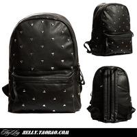 Black leather rivet heybig swag triangle backpack school bag backpack hiphop hip-hop bboy