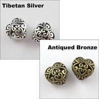YBB Wholesale 13mm Zinc alloy Tone Hollow flower Heart Tibetan Antiqued Silver Spacer Beads Charms Jewelry accessories P105