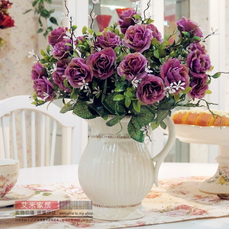 Small peony artificial flower set household rustic artificial flower decoration ceramic vase set new house decoration(China (Mainland))