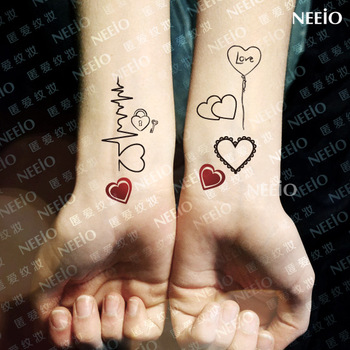 Temporary sweet black and white pattern of love heartbeat multicolour tattoos stickers waterproof female
