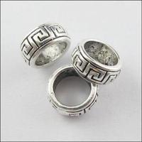 YBB Wholesale 10mm Antiqued Silver Tone 7mm Hole Spacer Bead Charm Fit Bracelet P316-1