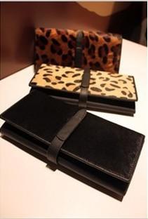 Women's long design wallet 2013 wallet day clutch leopard print horsehair genuine cowhide leather wallet