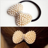 Free Shipping(Min.Order $10 Can Mix Different Item)2013 Pearls Rhinestone Bowknot Hair Ring Hair Rope For Women Hair Accessories
