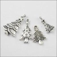 YBB  21mm-29mm Mixed Tibetan Silver Christmas Trees Charms Pendants for Jewelry DIY F138