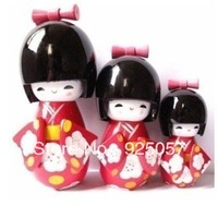 Japanese Kokeshi 3Pcs Red Wooden Doll