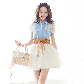 2013 summer denim patchwork lace one-piece dress slim high waist exquisite embroidery short-sleeve dress