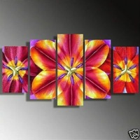 100% Hand painted Bright pink large flowers landscape Wall home Decor Oil Painting on canvas 5pcs