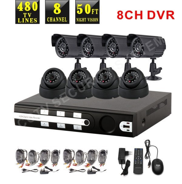 security camera system Camera H264 DVR CCTV Security System full kit, dome, cctv, package(China (Mainland))