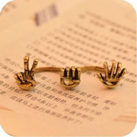 0357 Min order is $8 ( mix order ) Fashion Jewelry Vintage Exaggerated Double Finger Ring