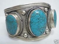 wholesale Cheap bracelets > Rarely men Antique Fashion jewelry Fancy Tibet Silver Turquoise Cuff Bracelet