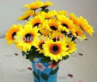 Bouquet Artificial Sunflower Silk Flower Home Party hotel supermarket decoration