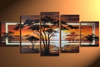 100%100% Hand made Quiet forest sunrise High Q. Abstract landscape Wall Decor Oil Painting on canvas 5pcs