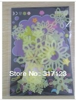 Free shipping (50 packs /lot ) Wholesale  12pcs/bag Christmas snowflake fluorescence stickers for Wall glass glow in the dark