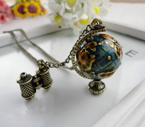Min.order $10 (mix order) Fashion vintage personality globe long design necklace xl254(China (Mainland))